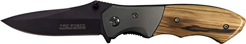(TAC Force TF-468LW Spring Assist Folding Knife, Black Straight Edge Blade, Natural Handle, 4-Inch Closed)
