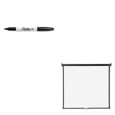 KITQRT660SSAN30001 - Value Kit - Quartet Wall or Ceiling Projection Screen (QRT660S) and Sharpie Permanent Marker (SAN30001)