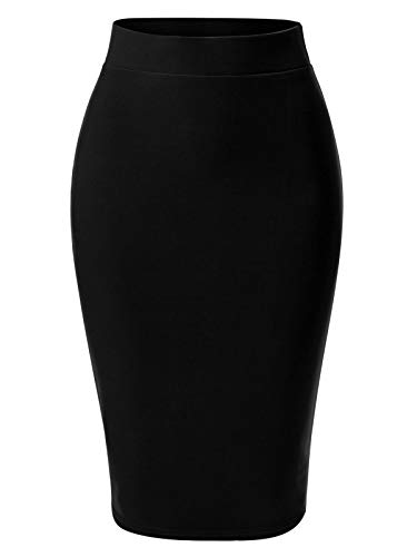 MixMatchy Women's Casual Classic Bodycon Pencil Skirt Black XL