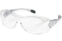 Crews(R) Law(R) Over The Glasses (OTG) Dielectric Safety Glasses With Gray Frame, Clear Polycarbonate Duramass(R) AF4(R) Anti-Scratch Anti-Fog Lens And Steel Colored Temples