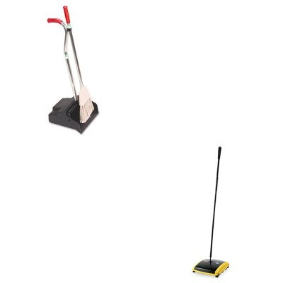 KITRCP421388BLAUNGEDPBR - Value Kit - Ergo Dustpan/Broom, 12quot; Wide (UNGEDPBR) and Dual Action Sweeper, Boar/Nylon Bristles, 42quot; Steel/Plastic Handle, Black/Yellow (RCP421388BLA) by Unger