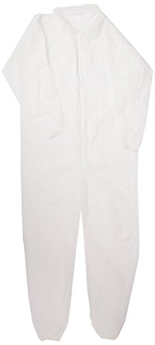 Keystone Polypropylene Coverall, Disposable, Elastic Cuff, White, Small - 2X-Large (Case of 25) Small/Medium by Keystone (Image #1)