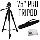 "Pro 75"" Tripod 3-Way Panhead Tilt Motion w/Built in Bubble Leveling for Sony A77ii a6000 a6300 a6500 a5100 a5000 a3000 A58 A37 A68 A99 A99 II a7 a7R a7S a7 II a7R II a7S II a9 Digital Cameras"