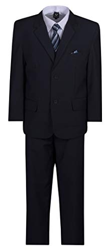 (Husky Boys 6 Piece Classic 2 Button Suit with Neck Tie and Pocket Square Navy Blue)