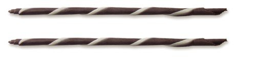 Dark/White Chocolate Striped Cigarillo Decoration Sticks, 5.9