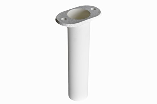 Marine City 90 Degree White Plastic Flush Mount Fishing Rod Holder (1 PC) - Rod Holder Gunnel Mount
