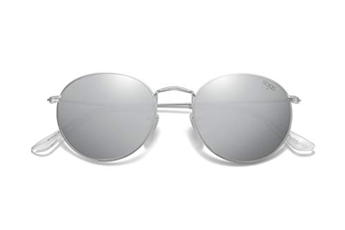 SOJOS Small Round Polarized Sunglasses Mirrored Lens Unisex Glasses SJ1014 3447 with Silver Frame/Silver Mirrored Lens (Silver Sunglasses Gray Mirror)