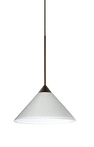 Besa Lighting 1XT-282453-LED-BR 1X6W Led Lightsource Kona Pendant with White Starpoint Glass, Bronze Finish