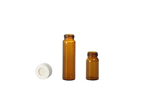 Colpak TC2431CP2404L Amber EPA Screw Neck Vial with 3 mm Pp Screw Cap, Center Hole, Silicon White, 30 mL (Pack of - Amber Center