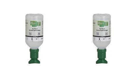 "Plum 45981-2 Sterile Saline Eyewash Solution Bottle 500 mL, 8.5"" Height, 3"" Wide, 3"" Length, 16.9 fl. oz, Plastic (Pack of 2) (2)"