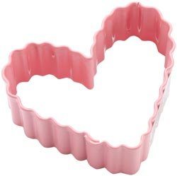 Bulk Buy: Wilton Metal Cookie Cutter 3in. Pink/Small Crinkle Heart ()