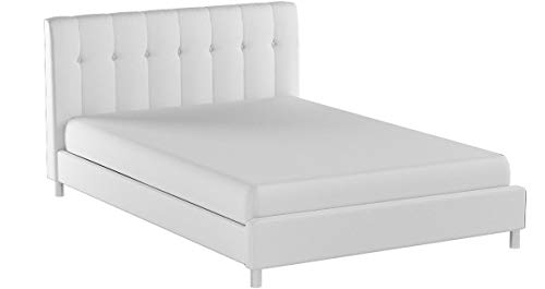 Baxton Studios Vino Modern Bed with Upholstered Headboard Bl