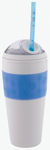 Copco 16-Ounce Cold Beverage Travel Cup with Straw, Blue Dot