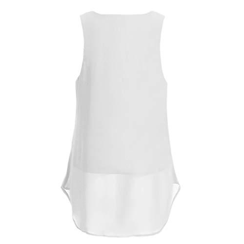 Chaleco Para Verano Tirantes En Manga Dobladillo Holatee V Elegantes Blusas Camisetas Fiesta Irregular Vestir Mujer Tops Cuello Corta Blanco Sexy Sin Moda IzUzrH
