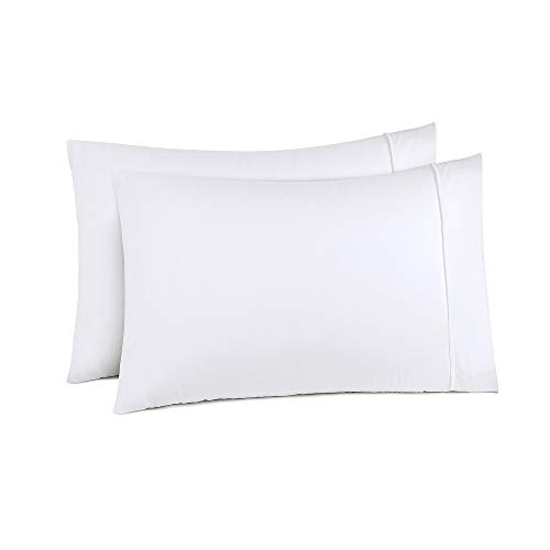 (Cosy Hometex Pillowcases Standard Size Superior Soft 100% Double Brushed Microfiber Exquisite Stitched Tailoring,Envelope Closure End,Set of 2-White)