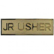 Badge-Jr Usher-Pin Back-Rectangle (5/8 x 2)-Brass