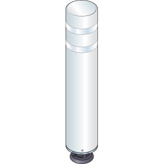 48 in. White Gorilla Post Magnetic Bollard with 2 White Reflective Stripes, Add On Kit