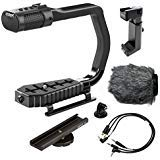 Sevenoak MicRig Universal Video Grip Handle with Integrated Stereo Microphone, Windscreen, & Bonus Shoe Extender Bracket for...
