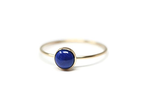 Round 6 mm Lapis - lazuli and 14K Gold Filled Skinny Ring Size (Jewelry 14k Gold Lapis Ring)