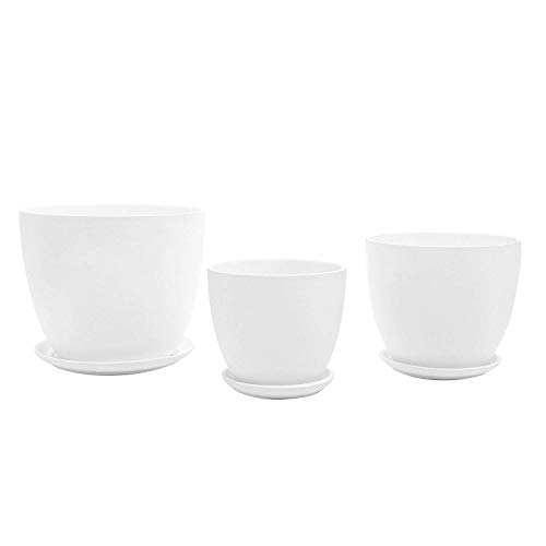 Set Of 3 Modern Round Matte Finish Ceramic Planter Pot Vases With Drainage Dish White Floral Campania Whote Large Cylinder Nesting Plsnter Garden Urn Ceramicplanter Indoor Sets Plant Slate 6.5