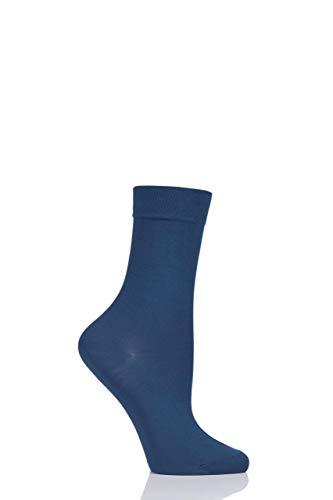 Ladies 1 Pair Falke Cotton Touch Anklet Socks Blue 7.5-10 ()