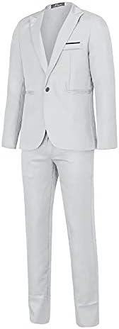 2021 Fashion Suits for Men's Formal Suit Jacket Pants Two-piece Suit Solid Color Long Sleeve Single Button