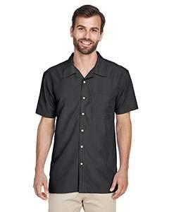 Harriton Men's Barbados Textured Camp Shirt - Black -