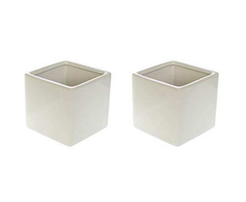Marmeda White Glossy Square Ceramic Vase - Set of 2-3 X 3 X 3 Inches Classic Cube Flower Holder - Minimalist Modern Decor for Home or - 3 Inch Ceramic White