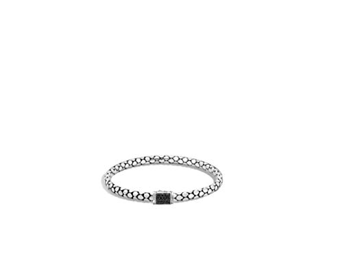 John Hardy Dot - John Hardy Dot Silver Lava Slim Chain Bracelet With Pusher Clasp Set With Black Sapphire Size M - BBS39104BLSXM