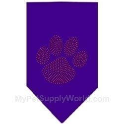 Mirage Pet Products Paw Red Rhinestone Bandana, Large, Purple