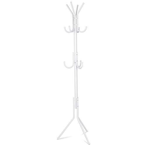 INTEY Standing Coat Rack 11 Hooks Hanger Holder Hooks for Dress Jacket Hat and Umbrella Tree Stand Base Metal, White