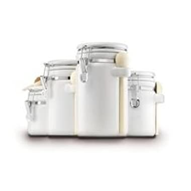 Canister White Ceramic 4pc