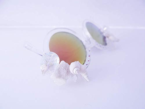 Crytsals Star - White Crytsal Sunnies, By: Star Stuff Boutique, Decorated Sunnies, Clear Shades, Jeweled Eyewear, Burningman Sunglasses, Rave, SIren, Mermaid Party, Rave Accessories, Valentines