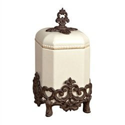 Gracious Goods Small Provencial Canister with Metal Base (Collection Set Canister)