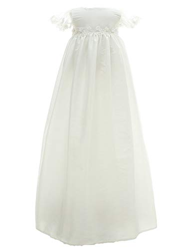 Moon Kitty Infant Christening Dress 2PCS Baptism Dresses Long Satin Baptism Gowns For Baby White 9M(6-9Months)