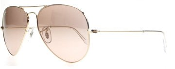 Ray Ban Aviator Wrap Sunglasses - Ray-Ban AVIATOR LARGE METAL - GOLD Frame / Crystal Brown Pink Silver Mirror Lenses 62mm