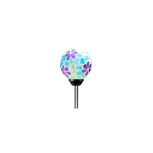 "Solar Colorful Flower Ball Lights (#W008F), Mosaic 3.5"" Glass Ball Multi-Color Color Changing LED Garden Stake Yard LED Light"