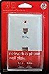 GE Network & Phone Jack Wall Plate Duplex Modular RJ45 and RJ11-36536 ()