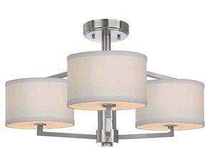 - Dolan Designs 1885-09 3Lt semiflush Satin Nickel Monaco 3 Light Semi Flushmount,
