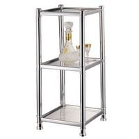 HOMEBASIX HS04A CH 3 Tier Glass Shelving Unit, Chrome Photo