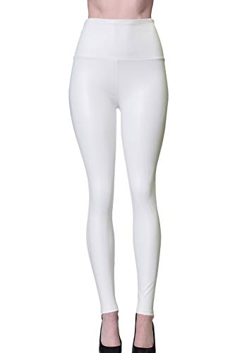 Womens Sexy Tight Fit Faux PU Leather High Waist Leggings (White, S) (Tight Sexy Pants)
