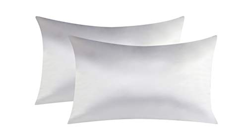UPSTONE Two-Pack Satin Pillowcases for Hair & Facial Skin to Prevent Wrinkles Hidden Zipper Queen Size (20x30 inches) White