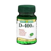 Natures Bounty Vitamin D, 100 tabs 400 IU(Pack of 2)