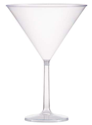 (Six (6) Jumbo Clear Martini Glasses - w/Free Recipe Card)
