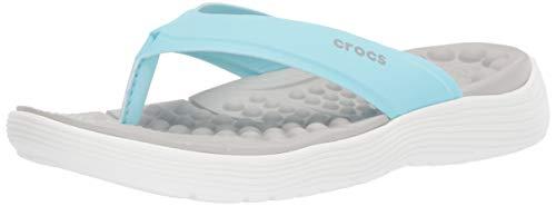 Crocs Women's Reviva Flip Flop, ice Blue/White, 10 M US