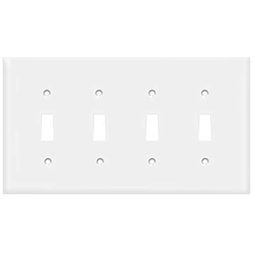 Enerlites 8814M-W Toggle Switch Wall Plate, Mid-Size, Polycarbonate Thermoplastic, 4 Gang, White