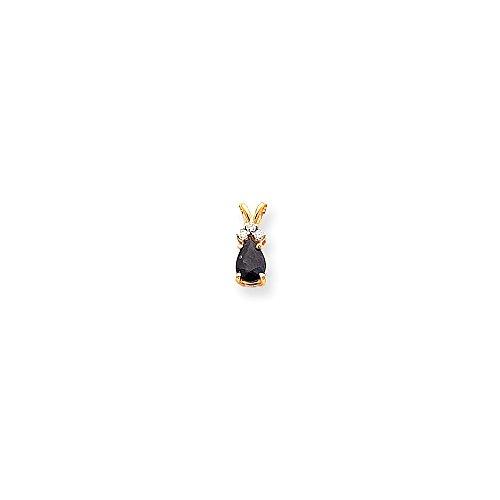 Jewelry Adviser Pendants 14k 7x5mm Pear Sapphire AA Diamond pendant Diamond quality AA (I1 clarity, G-I color) 14k 7x5mm Pear Sapphire