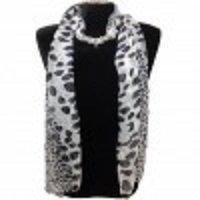 Leopard Pattern Jewelry SCARF - BLACK/WHITE
