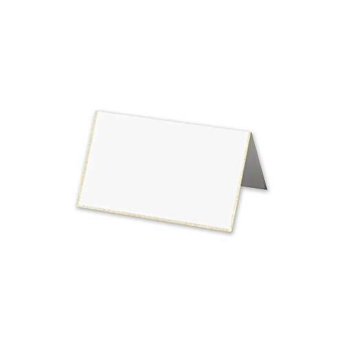 Cranes Kid Pearl White Platinum Bordered Bulk Place Card