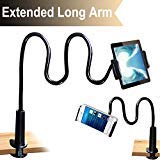 - Cellphone & Tablet 2 in 1 Stand Holder Clip with Grip Flexible Long Arm Gooseneck Bracket Mount Clamp Compatible with Pad/iPhone X/8/7/6/6s Plus Samsung S8/S7 Amazon Kindle Fire HD and More- Black